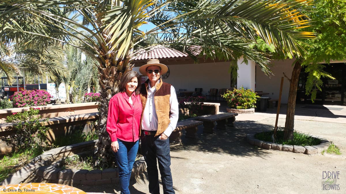 Nels and Martha Rogers at Martha's Gardens Date Farm in Yuma, Arizona